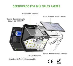 mpow foco solar exterior, mpow luz solar, mpow luz solar 500lm, luz solar con sensor de movimiento, lampara solar led exterior